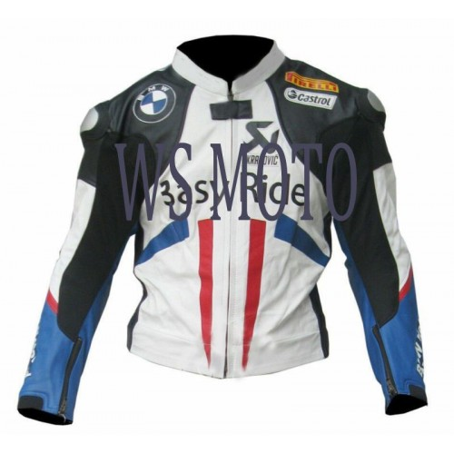 LEON HASLAM BMW MOTORBIKE,MOTORCYCLE/MOTGP RACING LEATHER JACKET
