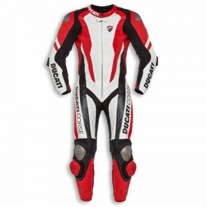 Ducati corse 1PC MOTORBIKE 100% COWHIDE LEATHER SUIT RACING BIKER SUIT CE ALL