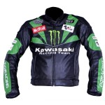 Kawasaki team black and green sports biker leather jacket