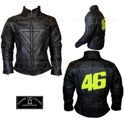 VALENTINO ROSSI STYLE MENS BLACK MOTORBIKE / MOTORCYCLE LEATHER JACKET