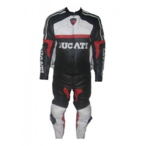 DUCATI BLACKWHITE MOTORBIKE RACING LEATHER SUIT CE APPROVED