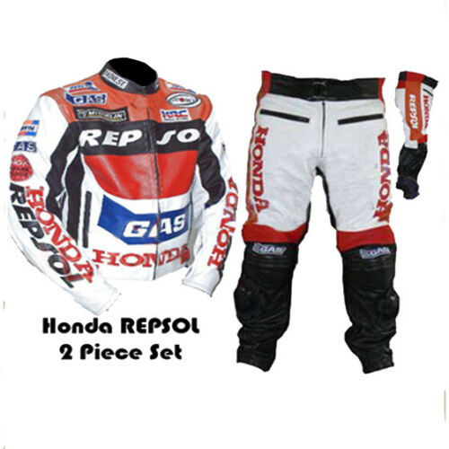 HONDA GAS REPSOL RED MOTORBIKE MOTORCYCLE COWHIDE LEATHER ARMOURED 2 PIECE SUIT
