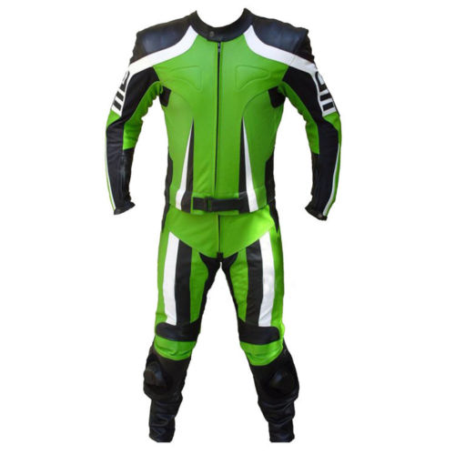 Hooper Mens Green Black Motorcycle Racing Cowhide Leather 2 PC Suit Safety Pads