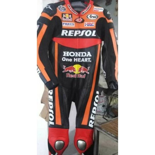HONDA REPSOL MOTORBIKE RACING LEATHER SUIT CE APPROVED