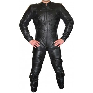 MOTORBIKE/MOTORCYCLE BLACK CUSTOM MADE COWHIDE LEATHER SUIT RACING SUIT MOTOGP