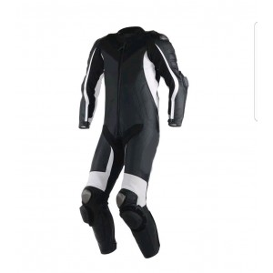 Motorcycle black white leather Custom made Motorbike racing suit all sizes