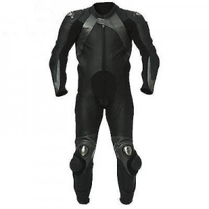BLACK/GREY MOTORBIKE SUIT COWHIDE LEATHER RACING MOTORCYCLE SUIT ALL SIZES