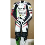 WHITE DUCATI CORSE MOTORBIKE RACING LEATHER SUIT CE APPROVED