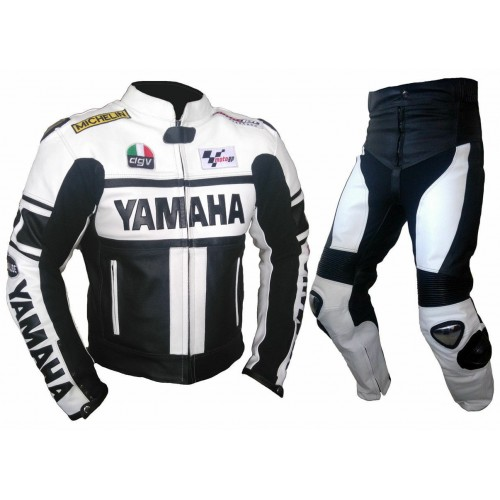 2019 YAMAHA-Motorcycle Racing 2PC Leather Suit-MotoGp-CE Approved Protectors