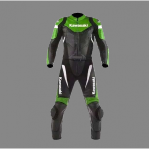 Kawasaki New Leather Racing Suit Ce Approved Protection