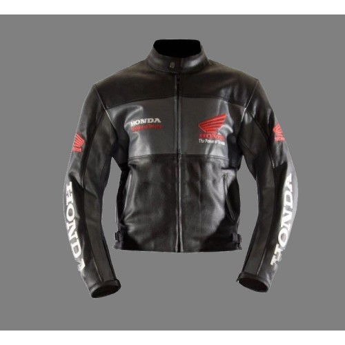 Black Honda  Motorcycle/Motorbike Racing-Cowhide-Leather-Jacket