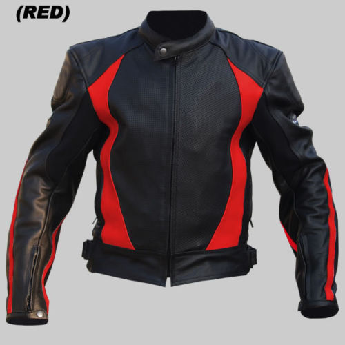 MENS RED MOTORCYCLE LEATHER JACKET MOTORBIKE RACING BIKER JACKET CE - ALL SIZES