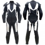 BLACK/WHITE MOTORBIKE SUIT COWHIDE LEATHER RACING MOTORCYCLE SUIT ALL SIZES