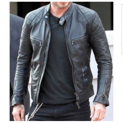 Diesel Men Fashion  leather jacket men Black