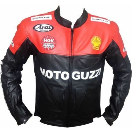 Men's Motorbike Leather jacket MotoGuzzi Replica jacket for Motorcycle ride