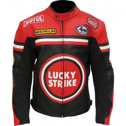 LUCKY STRIKE BLACK Cowhide Real Leather Motorbike Biker Jacket for motorcyclist