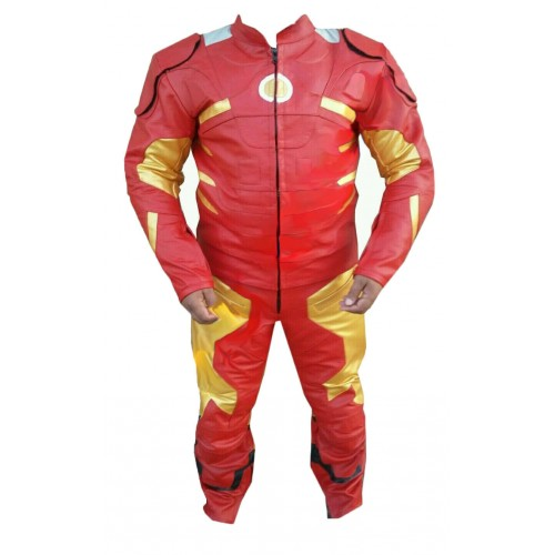 Men's Leather Motorbike Replica Iron Man Suit for Motorcycle ride