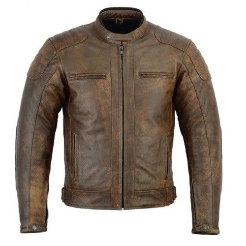 Rksports 06 Mens Brown Fashion Leather Motorcycle Motorbike Jacket with Armour
