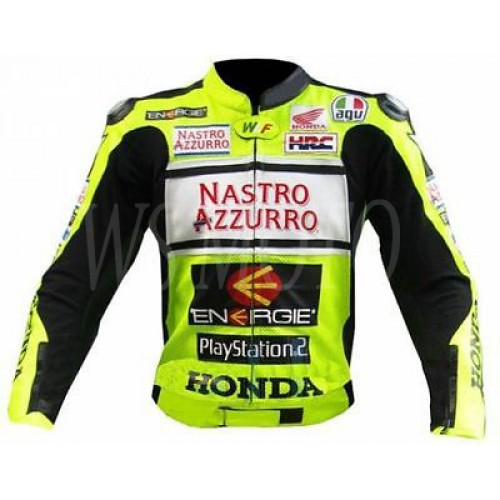 NASTRO AZZURRO MOTORBIKE MOTOGP MOTORCYCLE RACING LEATHER JACKET