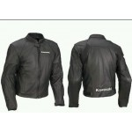 KAWASAKI FULL BLACK MOTORBIKE/MOTORCYCLE LEATHER JACKET CE PROVED PROTECTION