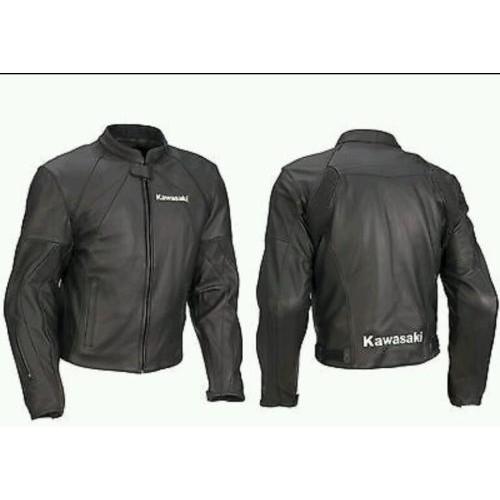 KAWASAKI FULL BLACK MOTORBIKE/MOTORCYCLE LEATHER JACKET CE PROVED PROTECTION