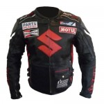 SUZUKI 4269 BLACK MOTORCYCLE ARMOURED BIKER COWHIDE LEATHER JACKET