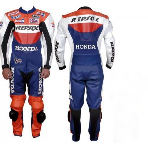 HONDA-REPSOL 1-OR-2 PC MOTORBIKE COWHIDE LEATHER SUIT RACING MOTORCYCLE