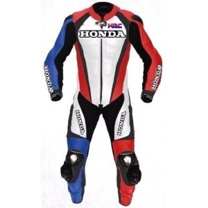 HONDA-HRC 1-OR-2 PC MOTORBIKE LEATHER SUIT COWHIDE RACING MOTORCYCLE RACER