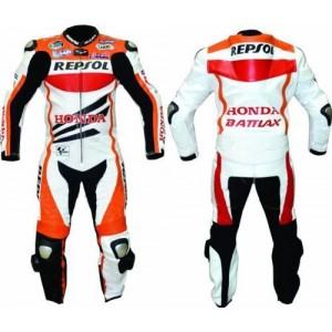 HONDA REPSOL (1 PC) SPORTS MOTORBIKE LEATHER SUIT RACING BIKER SUIT CE ARMOUR ALL SIZE
