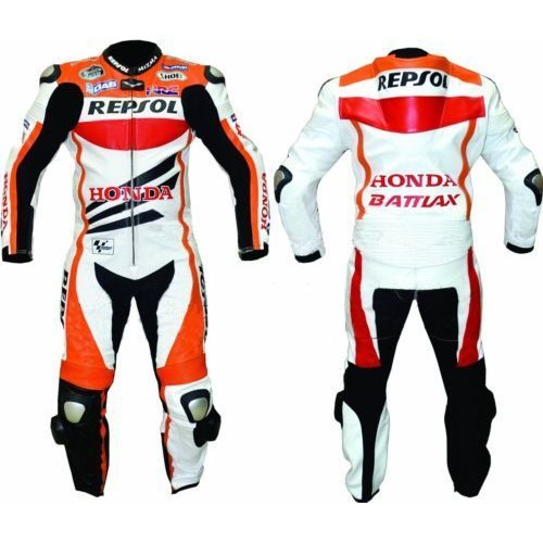 HONDA REPSOL (1 PC) SPORTS MOTORBIKE LEATHER SUIT RACING BIKER SUIT CE ARMOUR ALL SIZE