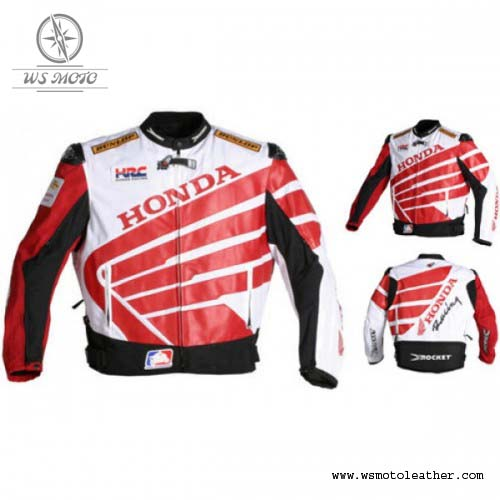 HONDA HRC  CBR  LEATHER MOTORBIKE JACKET MEN MOTORCYCLE RACING CE ARMORS JACKET