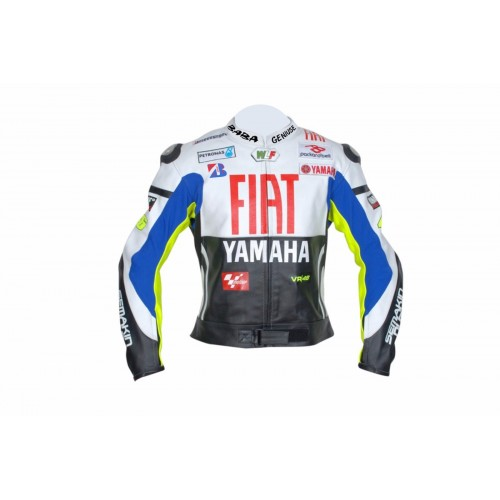 BABA GENIUSE MOTORCYCLE MOTOGP LEATHER JACKET VALENTINO ROSSI YAMAHA FIAT Black