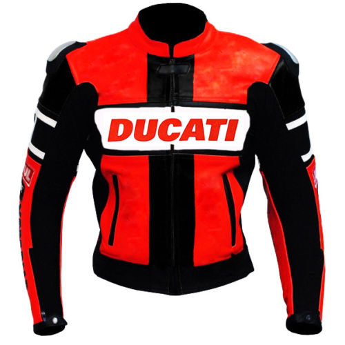 NEW DUCATI 2017 RED MOTORBIKE BIKER COWHIDE LEATHER JACKET CE APPROVED PADS