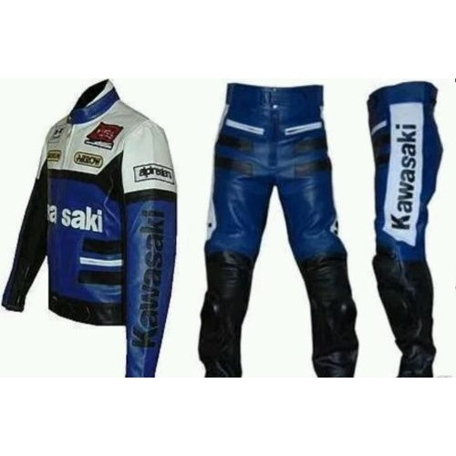 KAWASAKI BLUE MOTORBIKE/MOTORCYCLE LEATHER SUIT- CE APPROVED FULL PROTECTION