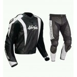 KAWASAKI NINJA BLACK WHITE MotoGp MOTORBIKE LEATHER SUIT- CE APPROVED FULL PROTECTION