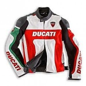 DUCATI GREEN MOTORBIKE MOTORCYCLE RIDING LEATHER JACKET. CE APPROVED PROTECTION.