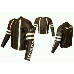 HONDA BROWN MOTORBIKE,MOTORCYCLE LEATHER JACKET. CE APPROVED FULL PROTECTION