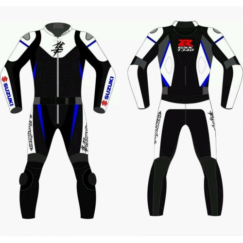SUZUKI HAYABOSA 2017 MOTORCYCLE RACING LEATHER SUIT:CE APPROVED FULL PROTECTION