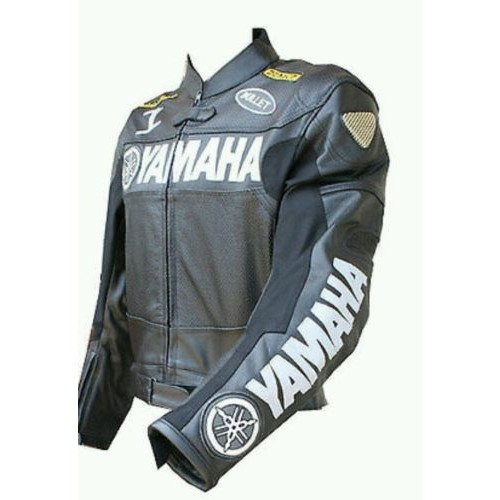 YAMAHA BLACK/WHITE MIX MOTORBIKE LEATHER JACKET - CE APPROVED FULL PROTECTION