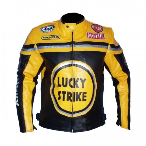 Lucky strike yellow & black biker leather jacket