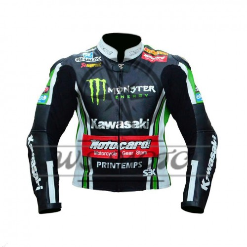 Tom Sykes Kawasaki Ninja Motorbike Racing Leather Jacket (SALE SALE SALE)