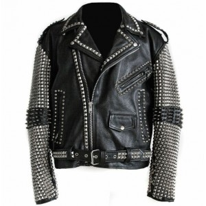 Christmas Party Wear Men Black Punk Silver Spiked Studded Cowhide Leather Jacket