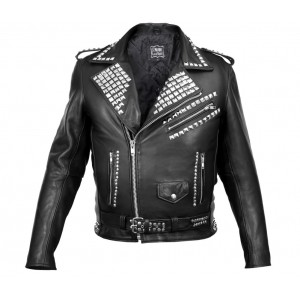 MENS COLLAR STUDDED LEATHER JACKET