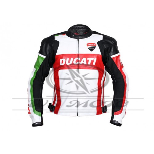 WHITE DUCATI CORSE MOTORBIKE MOTORCYCLE LEATHER RACING JACKET WITH PROTECTIONS