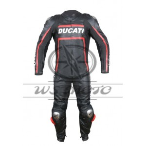 DUCATI CORSE BLACK-RED MOTORBIKE/MOTOGP/MOTORCYCLE LEATHER RACING SUIT 100% COWHIDE
