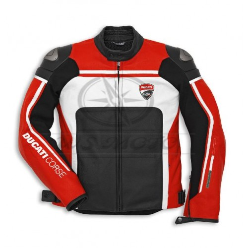 NEW  2018 DUCATI CORSE RED MOTORBIKE/MOTOGP/MOTORCYCLE 100% COWHIDE LEATHER JACKET