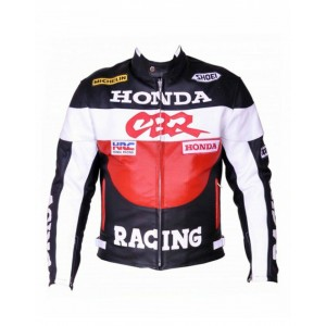 HONDA CBR REAL LEATHER MOTORBIKE JACKET MEN MOTORCYCLE RACING CE ARMORS JACKET