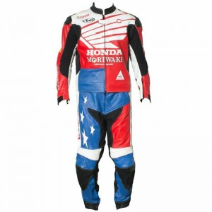 Honda Leather Motorcycle Leather Racing Suit CE Approved 1 PC 2 PC
