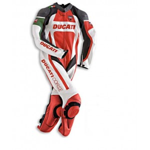Ducati Motogp Sports Racing Cowhide Leather 1 Piece Motorbike Jump Suit With CE Approved Armors , All Sizes & Colors