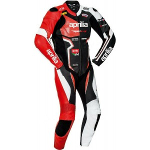 Aprilia Leather Men CE Protective Armour Motorcycle Street Racing Jacket Suit